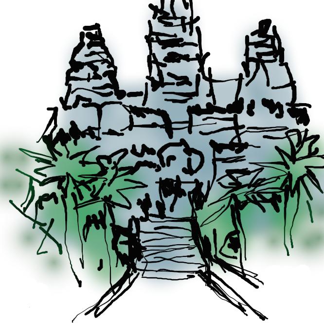 【アンコールワット:Angkor Wat】カンボジア北部、アンコールにある石造寺院遺跡。12世紀初め、クメール王朝スールヤバルマン2世の治下に建立。南北1300メートル、東西1500メートルの環濠(かんごう)に囲まれ、三重の回廊の中心に祠堂が建つ。ヒンズー教の神々やマハーバーラタ、ラーマーヤナなどの古代インドの叙事詩を描いた精緻な浮き彫りが残っている。1992年、アンコールの他の遺跡とともに世界遺産(文化遺産)に登録された。