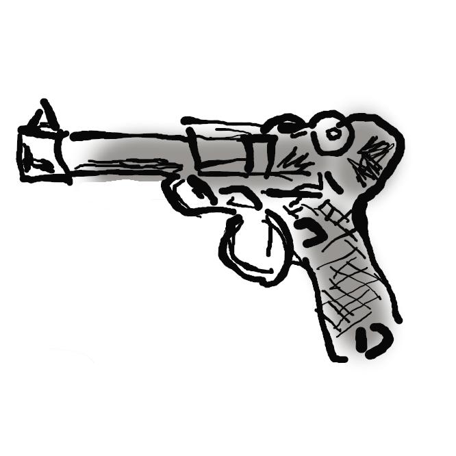 【ルガーP08】ドイツで開発された自動拳銃である。「P08」はドイツ軍での制式採用名である。