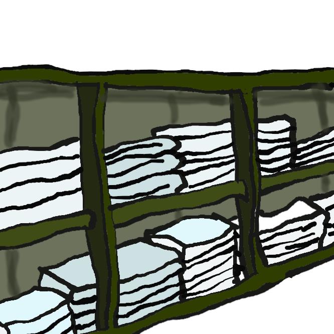 【リネン室】リネン類や寝具類を保管する部屋のことを指しています。リネン類とは、具体的にはタオル類、シーツ、枕カバー、便尿器カバーなどのことです。 おもにお客様や患者さんのベッドリネン関係です。