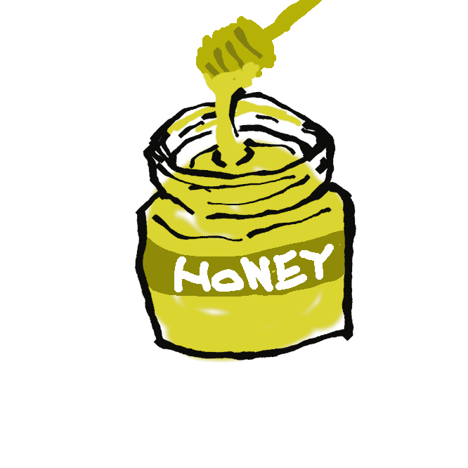 【蜂蜜】ミツバチが花から集めてきて巣に蓄えた蜜。淡黄色から褐色の粘りけの強い液体。大部分が果糖とぶどう糖で、甘く、栄養価が高い。食用・薬用。