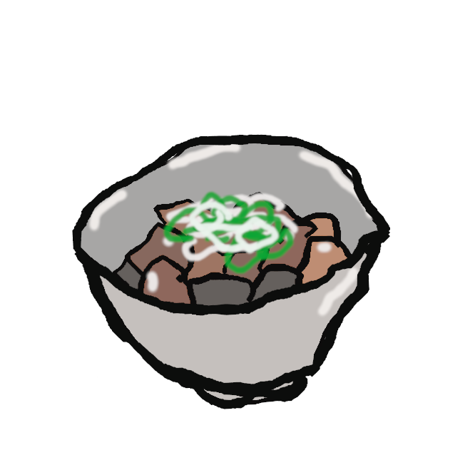 【もつ煮】牛や豚の内臓を野菜とともに煮込んだ料理。もつ煮込み。