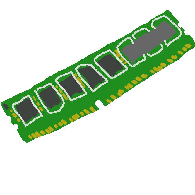 コンピュータにおいて、プログラムやデータを記憶する装置のことである。特に、RAMやROMなどの半導体記憶装置のことである。