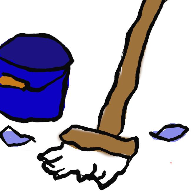 長い柄のついた雑巾。床などを掃除するのに用いる。
