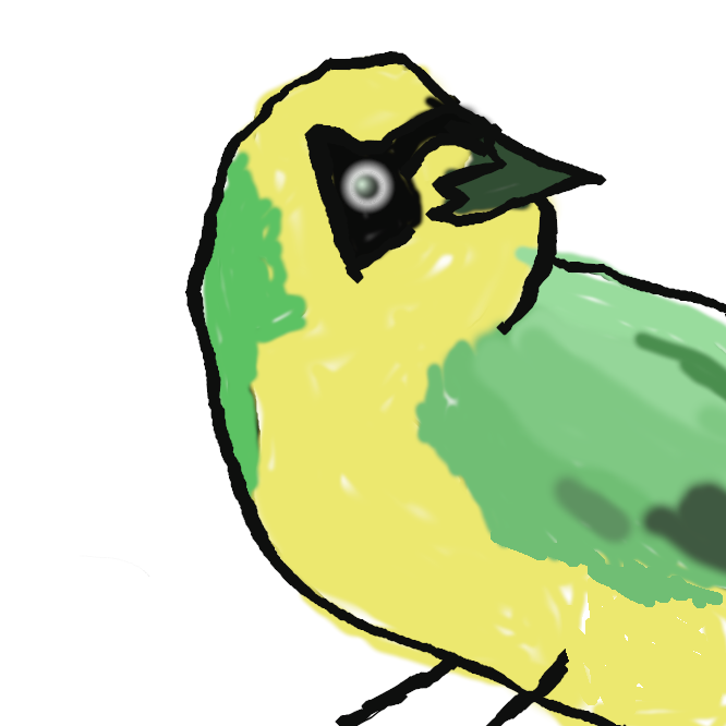 【目黒】スズメ目ミツスイ科の鳥。全長14センチくらい。背面は灰褐色がかった黄緑色で、下面が黄色く、目の周辺に黒い三角形の斑がある。小笠原諸島にのみ分布し、花や実の蜜を好む。特別天然記念物。