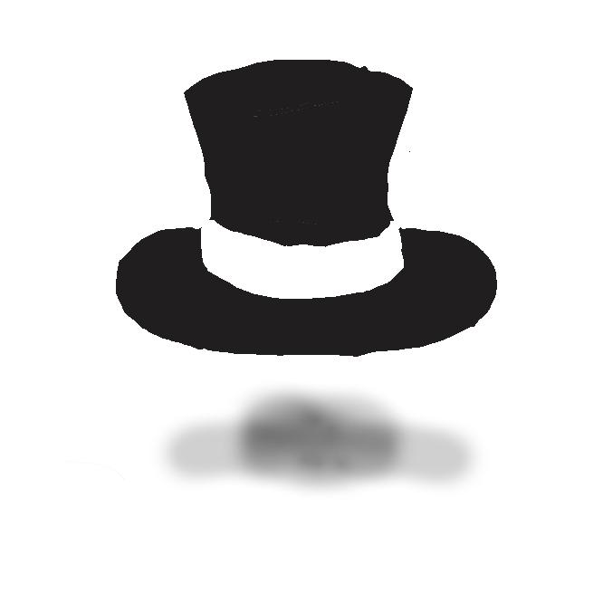男子の礼装用帽子。頂が平らな円筒形の帽子で、両端がやや反り上がった狭い縁がつく。絹仕上げでつやがあり、黒色が正式。トップハット。