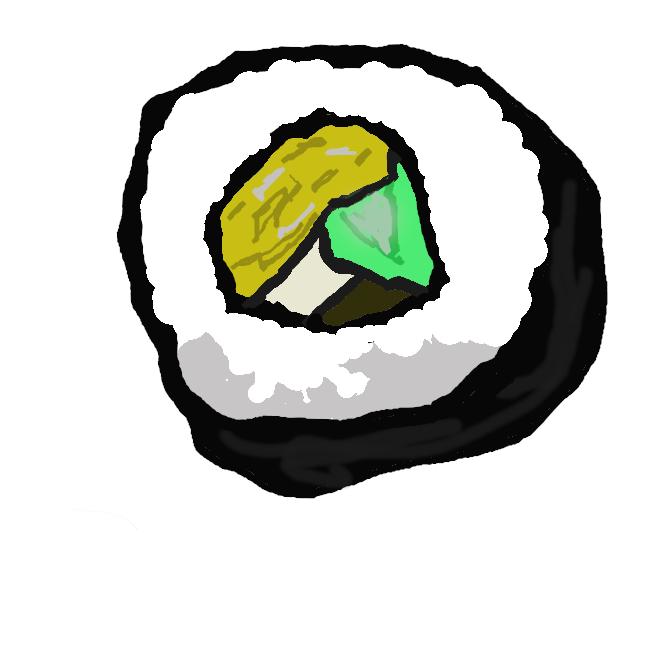 【海苔巻き】具を芯にして鮨(すし)飯を干し海苔で巻いたもの。巻き鮨。