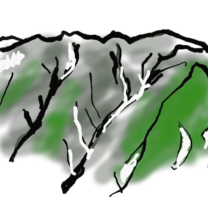 【赤石山脈】山梨・長野・静岡の3県にまたがり南北に走る山脈。最高峰は北岳で、標高3193メートル。南アルプス。