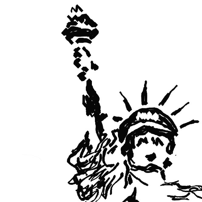 【自由の女神】ニューヨーク港内リバティー(旧称ベドロー)島にある女神像。米国の独立100周年を記念してフランス国民が贈呈したもので、1886年に落成。正式名は「世界を照らす自由(Liberty Enlightening the World)」で、右手にたいまつ、左手に独立宣言書を持つ。像の高さは約46メートルで、台を含めると93メートルに達する。1984年、世界遺産(文化遺産)に登録された。