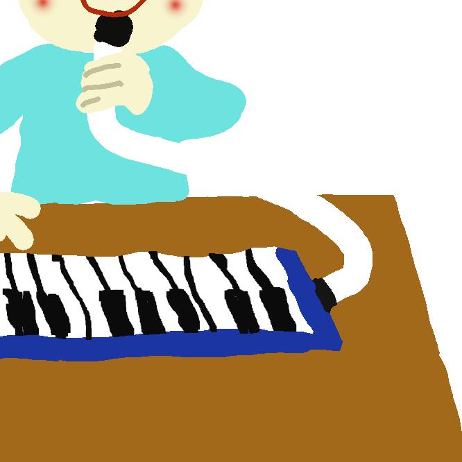 【鍵盤ハーモニカ】ハーモニカと同種のリード楽器。鍵盤を備え、吹き口から息を吹き込んで奏する。