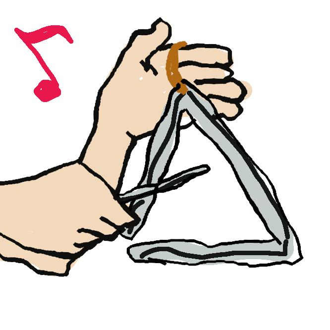 打楽器の一。鋼鉄の棒を一端があくように正三角形に折り曲げ、鋼鉄のばちで打つ。鋭く透明な音色をもつ。