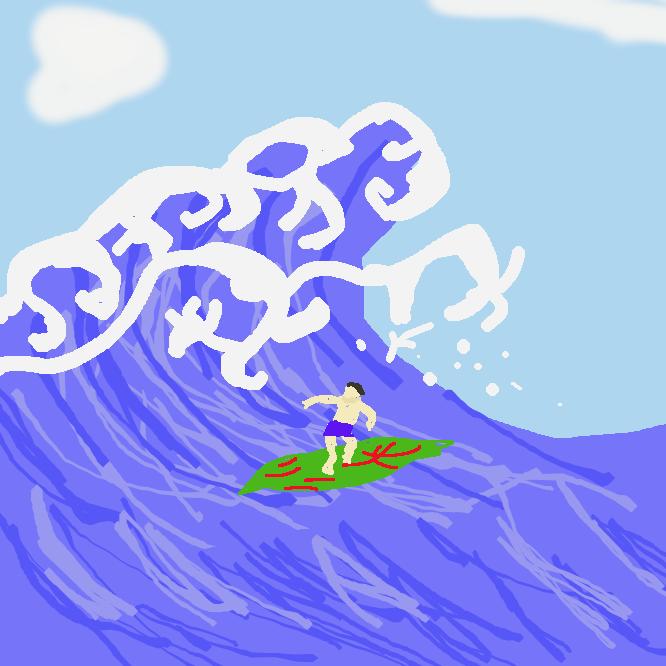 【波乗り】板などを使って波に乗る遊び。サーフィン。