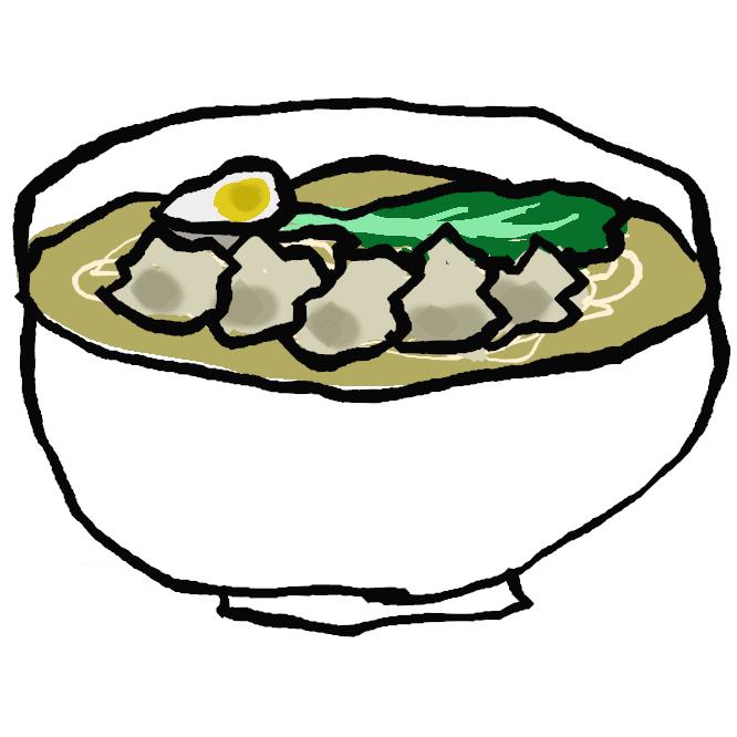 【ワンタン麺】スープにワンタンと中華そばを加えた料理。