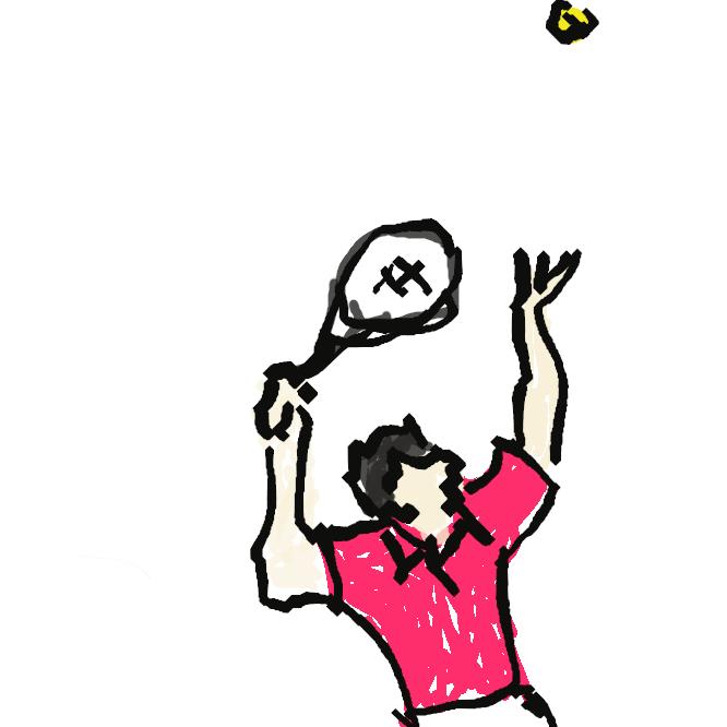 長方形のコートの中央にネットを張り、これを挟んで相対し、ラケットでボールを打ち合って得点を争う球技。使用ボールによって硬式と軟式とがある。試合はシングルス・ダブルス・混合ダブルスの3種がある。庭球。
