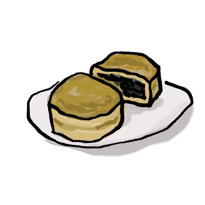 【今川焼き】小麦粉、卵、砂糖を水で溶いたものを、銅版の焼き型に流し入れ、餡を入れて焼いた菓子。