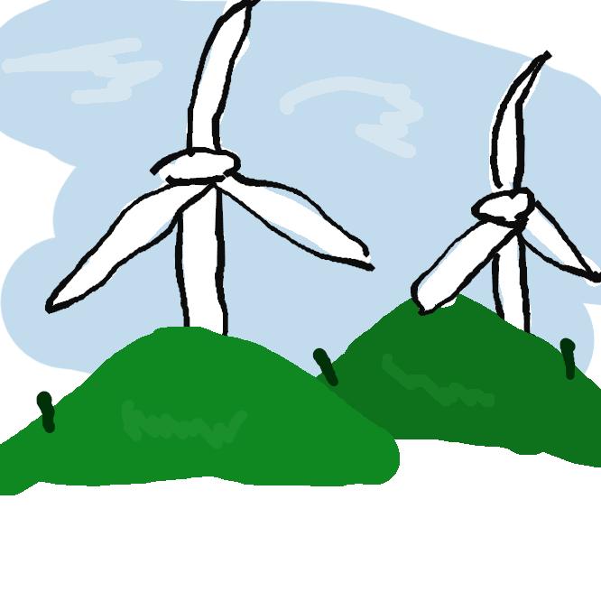 【風力発電】風のエネルギーを利用して得た動力で発電機を駆動する方式の発電。