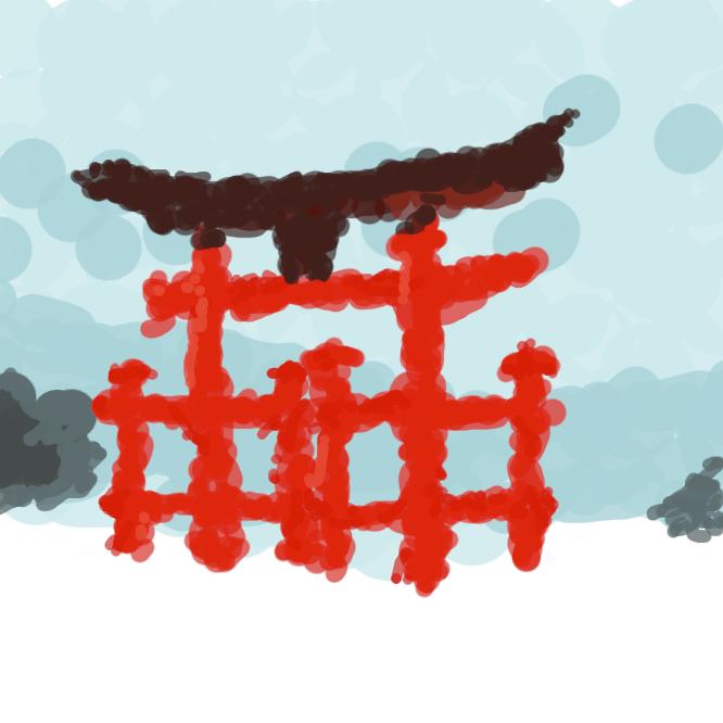 【大鳥居】神社の神域を象徴する一種の門。2本の柱の上に笠木(かさぎ)を渡し、その下に貫(ぬき)を入れて柱を連結したもの。厳島神社が有名。