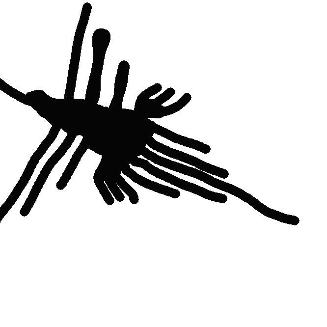 【ナスカの地上絵】ペルーのナスカ川とインヘニオ川に囲まれた乾燥した盆地状の高原の地表面に、紀元前200年~紀元後800年のナスカ文化の時代に描かれたとされる絵で、幾何学模様あり、動植物をかたどった具象図形あり、とさまざま。大きさも数十mから数十kmに及ぶものまで、700を超す数の地上絵が確認されている。