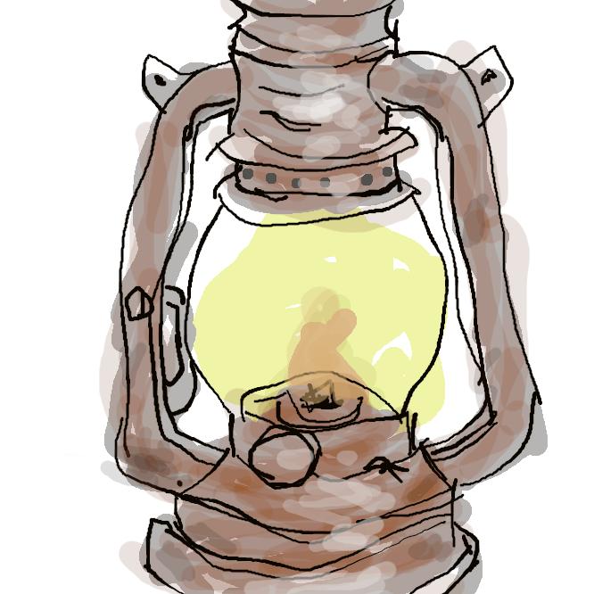 ブリキなどで枠を作り、ガラスで四面を囲った灯火。