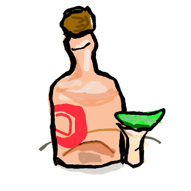 リュウゼツランの茎をしぼった液を発酵させ、蒸留してつくった無色透明の酒。メキシコ産で、酒精度は40度くらい。テキーラ酒を産したメキシコの地名にちなむ。