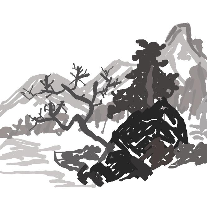 【山水】山岳や河水などの、自然の景観を描いた絵画。水墨山水・青緑山水などがある。人物画・花鳥画とともに東洋画の主要画題。