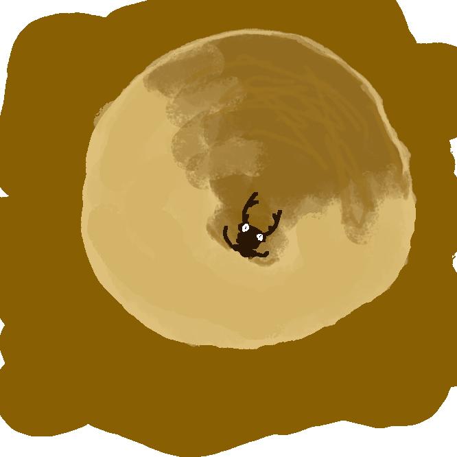 【蟻地獄】ウスバカゲロウ類の幼虫。体長約1センチ。鎌(かま)状の大あごをもち、乾燥した土をすり鉢状に掘って巣を作り、底にひそんで落ちたアリなどを捕らえる。あとじさり。すりばちむし。