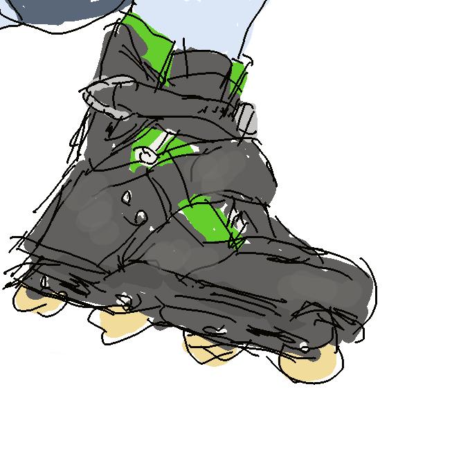 スケート靴の底に車輪を縦1列に並べたローラースケート。また、それを履いて行うスポーツ競技。