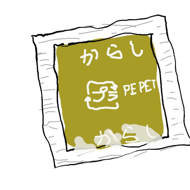 【辛子】カラシナの種子を粉にした香辛料。黄色で辛く、水で練って用いる。
