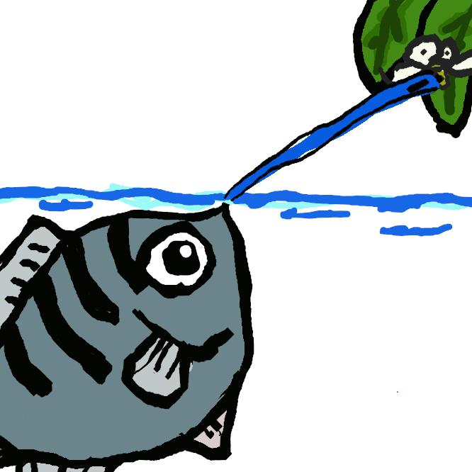 【鉄砲魚】スズキ目・テッポウウオ科に分類される魚。広義にはテッポウウオ科に分類される魚の総称としても用いられる。 口から「水鉄砲」を発射して水面上にいる小動物を撃ち落とし、捕食する行動がよく知られている。