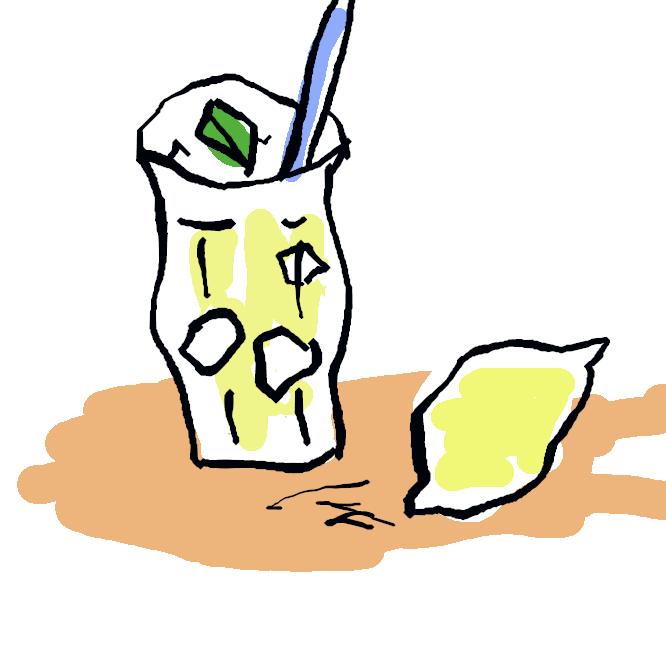 レモンの果汁を冷水で薄め、甘味を加えた清涼飲料。レモン水。