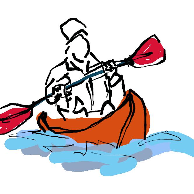 エスキモーが猟に用いる小舟に似た競技用カヌー。両端に水かきのあるパドル(櫂(かい))で左右交互にこぐ。