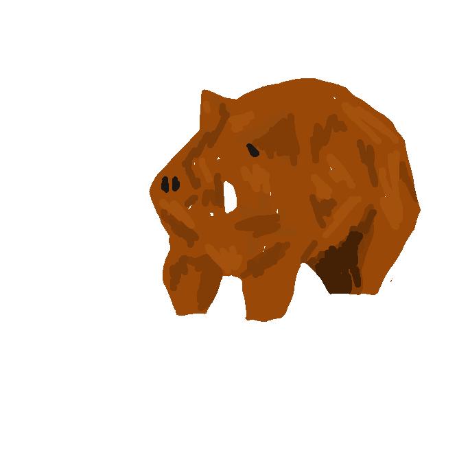 【猪】いのしし科の哺乳(ほにゅう)動物。全身に黒褐色のあらい毛が生え、首が短く、犬歯が特に長く鋭く、口外に出ている。昼眠り、夜歩いて畑などを荒らす。走ると容易に曲がれないという。