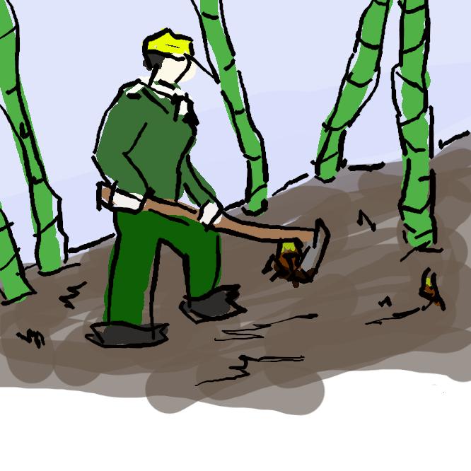 【たけのこ掘り】褐色の毛の密生した皮を幾重にもかぶる竹の地下茎から生え出る若芽を取ること。