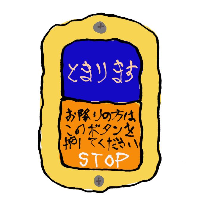 【降車ボタン】乗降客がいなければ、路線バスは停留所を通過する場合があります。そのため乗客は、目的のバス停で降りるにあたり「降車ボタン」を押し、降りる意思を運転手に伝えねばなりません。