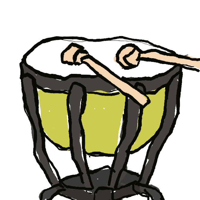 打楽器の一。鉢形の胴の上面に牛皮や合成樹脂の皮膜を張った太鼓。周囲のねじ、または支柱のペダルで音高を調整する。ふつう、異なった音高のものを二つ以上並べて奏する。