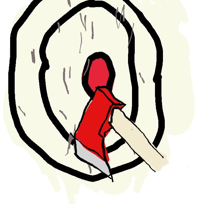 【斧】木をたたき切ったり、割ったりする道具。刃をもつ楔形(くさびがた)の鉄に、堅い木の柄をつけたもの。よき。