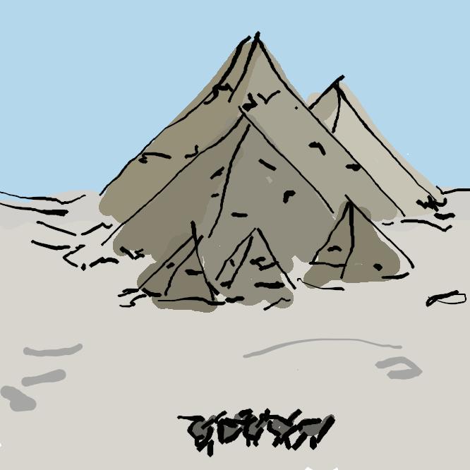 石や煉瓦(れんが)で造られた四角錐形の建造物。古代エジプトでは王・王妃などの墳墓として前2700〜前2500年ごろを中心に建設され、81基が現存。最大のものは、ギザにあるクフ王建造のもので、高さ146メートル、基底の一辺が約230メートル、その4稜は東西南北を指す。中南米の古代遺跡では神殿の基壇をなすものが多い。金字塔。