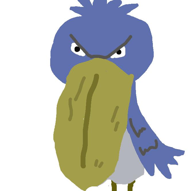 【嘴広鸛】コウノトリ目の大型渉禽類。主にアフリカの湿地などの地域に生息する。英語名で「クジラ頭」と呼ばれる独特の頭部、獲物を狙うため数時間にわたりじっとしている生態などが特徴。