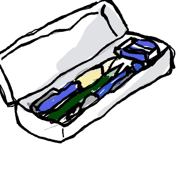 鉛筆、シャープペンシル、消しゴム、定規 、修正テープ 、ハサミなどを入れる物である。