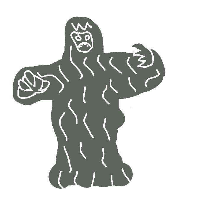 雪山で死んだ人間の魂が変化した姿と言われる怪獣。雪の上に足跡が残っていたり、ウルトラマンに投げ飛ばされて家を潰したりしている。いわゆるポルターガイストのように周りの物体に干渉できる霊的存在と解釈するのが自然か。