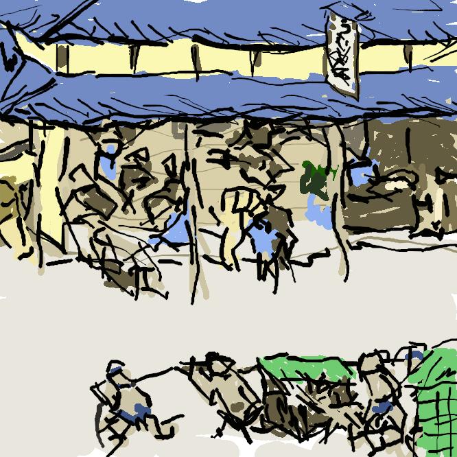 【草津宿】近江国栗太郡にあった東海道五十三次の52番目の宿場で、中山道が合流する。現在は滋賀県草津市市街。本陣が現存し、国の史跡に指定されている。