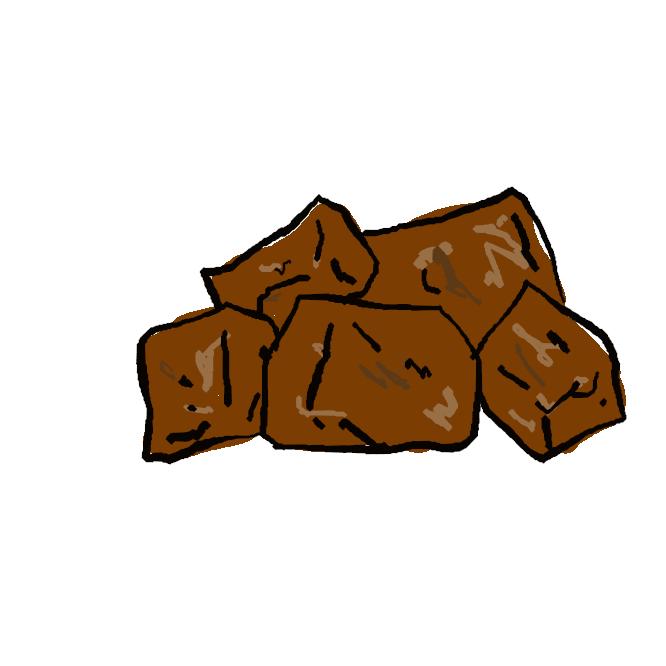 【黒砂糖】精製してない、黒い色の砂糖。白砂糖と違って鉄・カルシウム分が多い。飴(あめ)・ようかんなどに用いる。