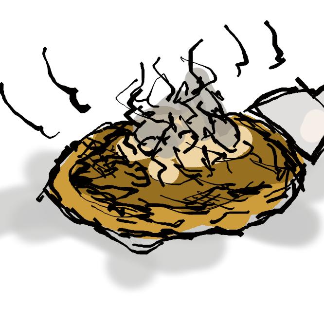 【御好み焼き】小麦粉の生地(きじ)とイカ・豚肉・キャベツなどの具材を焼き、ソース・青海苔(あおのり)などで味付けした料理。関西風では卵やとろろ汁などを加えた生地に具材を混ぜて焼き、広島風では具材や中華麺などをそれぞれ焼いて、薄い生地と目玉焼きではさんで供することが多い。
