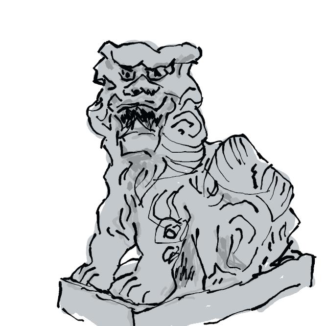 【狛犬】神社の社頭や社殿の前などに置かれる、一対の獅子(しし)や犬に似た獣の像。魔よけの力があるといわれ、昔は宮中で几帳(きちょう)や屏風(びょうぶ)の揺れ動くのをおさえるおもしとしても使われた。