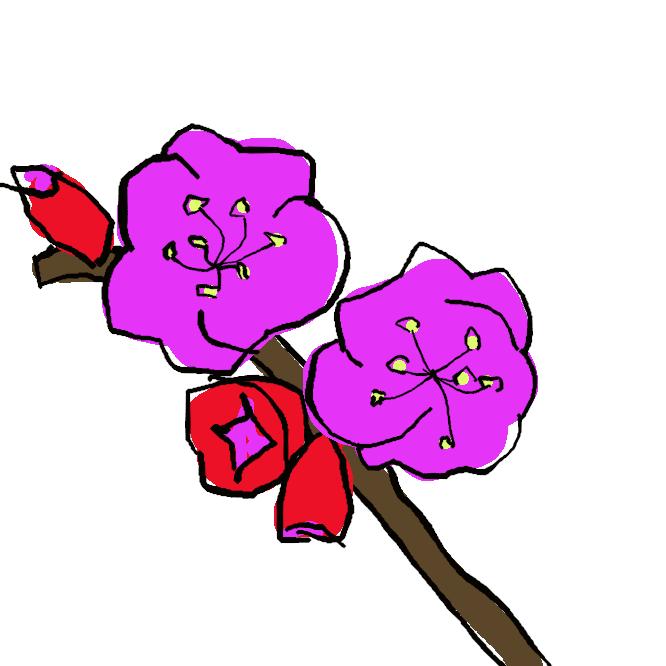 【豊後梅】梅の一品種。花は淡紅色で、八重咲きが多い。実は果肉が厚く、梅干しなどに用いる。