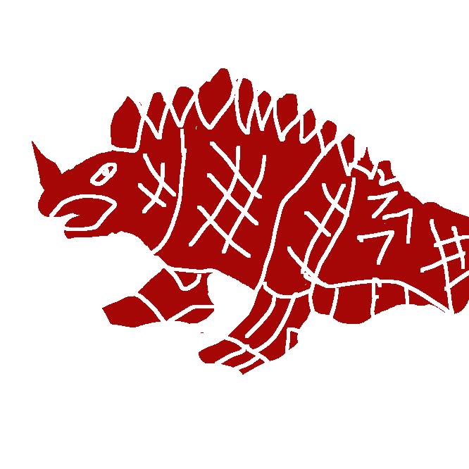 典型的な四足歩行タイプの怪獣。鼻先の一角と背中の鉱物の結晶のような突起が特徴で、いずれもマグマのような赤光を放っている。