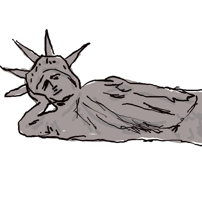 米国の独立100周年を記念してフランス国民が贈呈したニューヨーク港内リバティー島にある女神像とそっくりだが、こちらはかなり自由な寝ている女神。