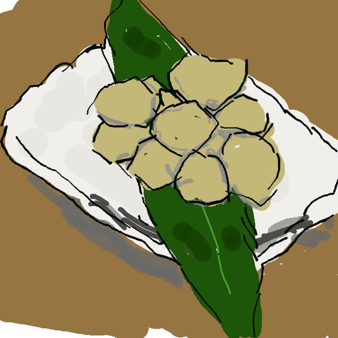 【吉備団子】もち米粉・砂糖などを材料に、碁石形に作った餅(もち)菓子。岡山の名産。