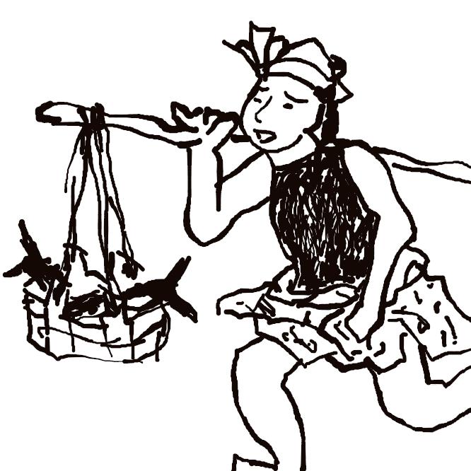 【振売】物を手に提げたり、担ったりして、その物の名をふれながら売り歩くこと。また、その人。中世から近世にかけて多く行なわれた。